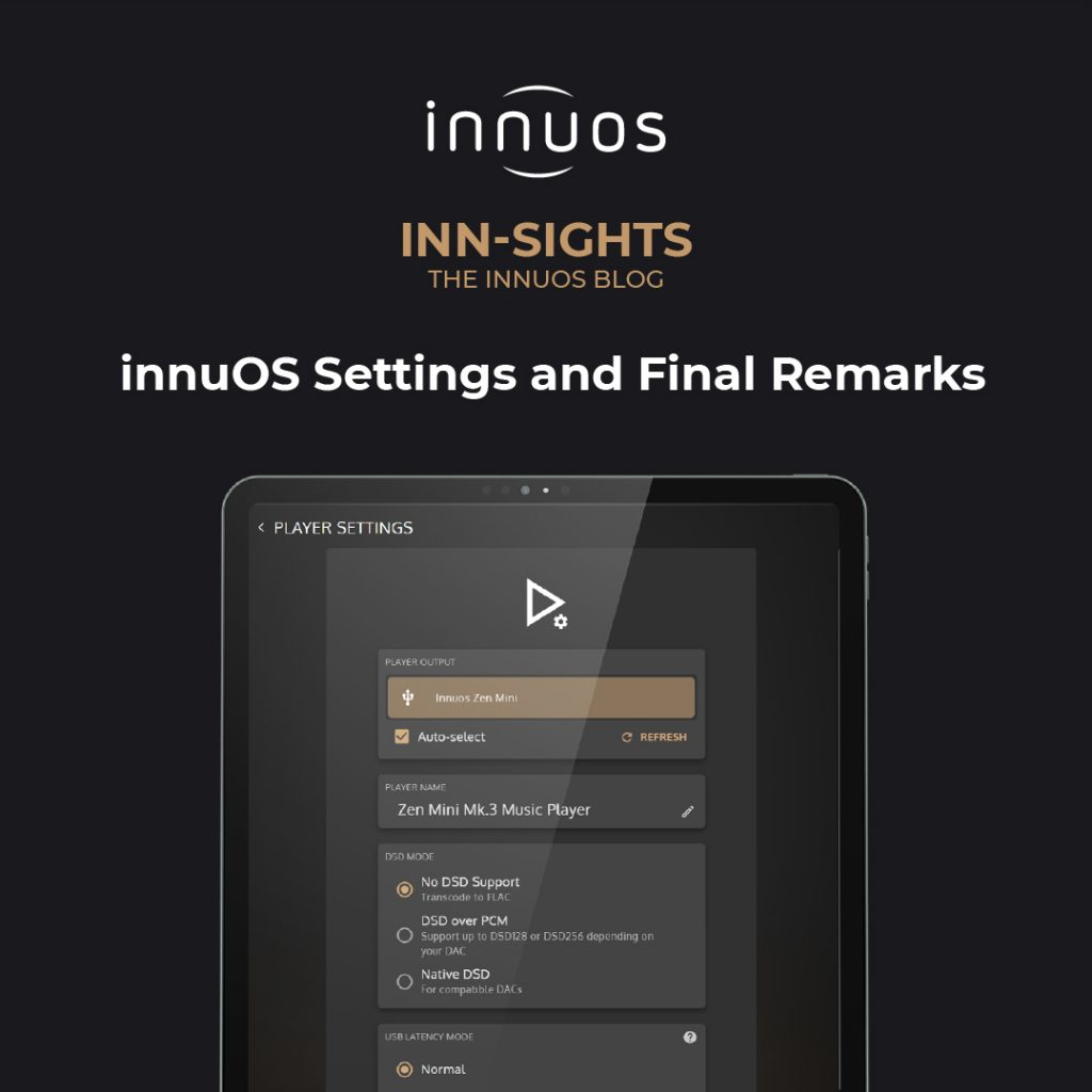 innuOS Settings and Final Remarks